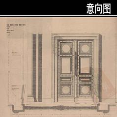 青铜大门手绘图