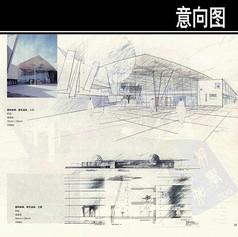 图瓦温泉建筑手绘图