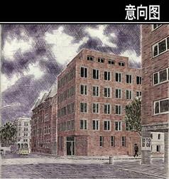 英式住宅手绘图