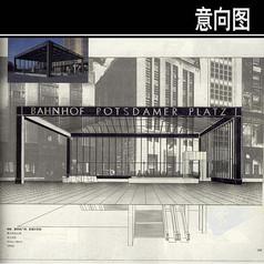 区域火车站手绘图