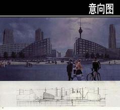 市区街道手绘图