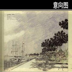 小艇码头手绘图