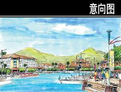 海南某岛城镇中心内港透视图