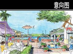 海南某岛深海度假村中心透视图
