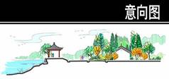 济南某风景区亭子区剖面图