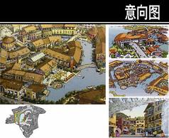 绵阳某旅游度假区小镇中心手绘