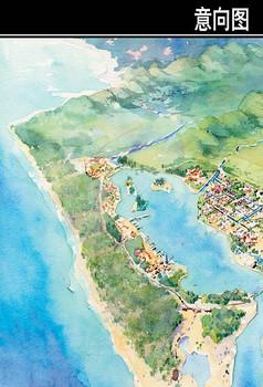 海南某岛规划鸟瞰手绘图