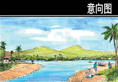 海南某岛玉带滩透视图