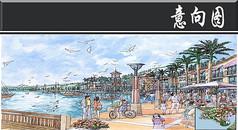 滨海旅游区餐饮街手绘图