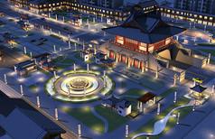 古建景观广场夜景全模