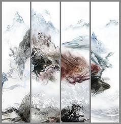 大气抽象水墨背景墙壁画