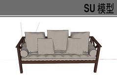 木质扶手多人沙发