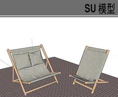 木质交叉布艺休闲椅