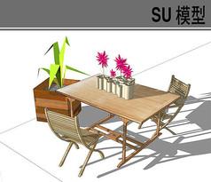 双人木质桌椅