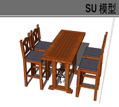 高脚木质古典桌椅