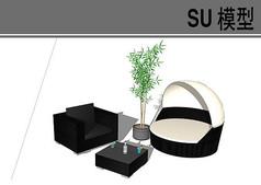 黑色商务茶几沙发