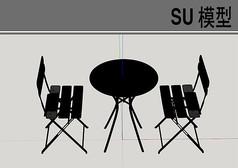 简约黑色桌椅