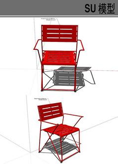 红色铁艺椅子