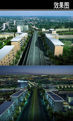 郑州景观大道节点鸟瞰图
