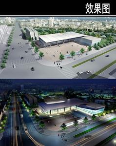 郑州某景观街规划运动广场鸟瞰