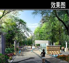 某欧式住宅C区入口广场效果图