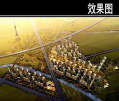 郑州某住宅区规划鸟瞰图