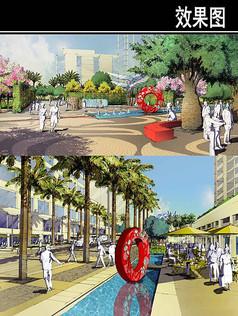 某八意府住宅项目水池效果图