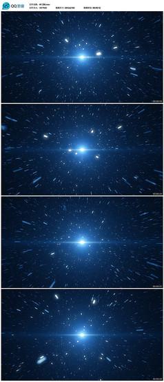蓝色粒子星空穿梭背景视频
