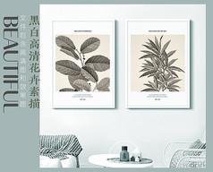手绘花卉客厅装饰画