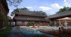古典建筑水池景观