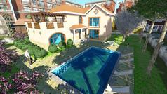 西班牙别墅景观鸟瞰图