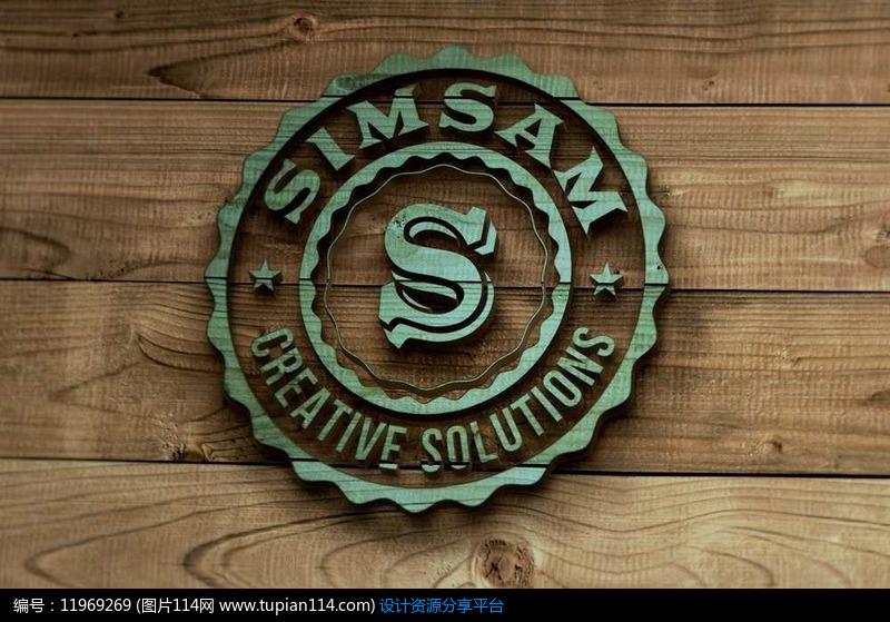 绿色圆形波浪线花边字母造型logo木材上涂刷展示