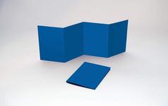 蓝色四折矩形宣传画册样机