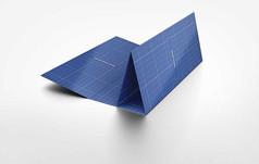 蓝色三折宣传手册画册折叠立体展示样机
