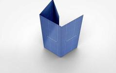 蓝色四折竖版立放宣传手册画册展示样机
