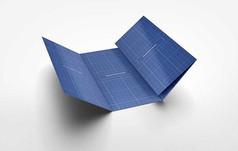 蓝色四折宣传手册画册右侧内页展开样机