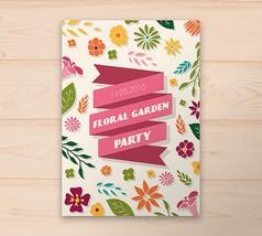 彩色花卉花园派对邀请卡ai