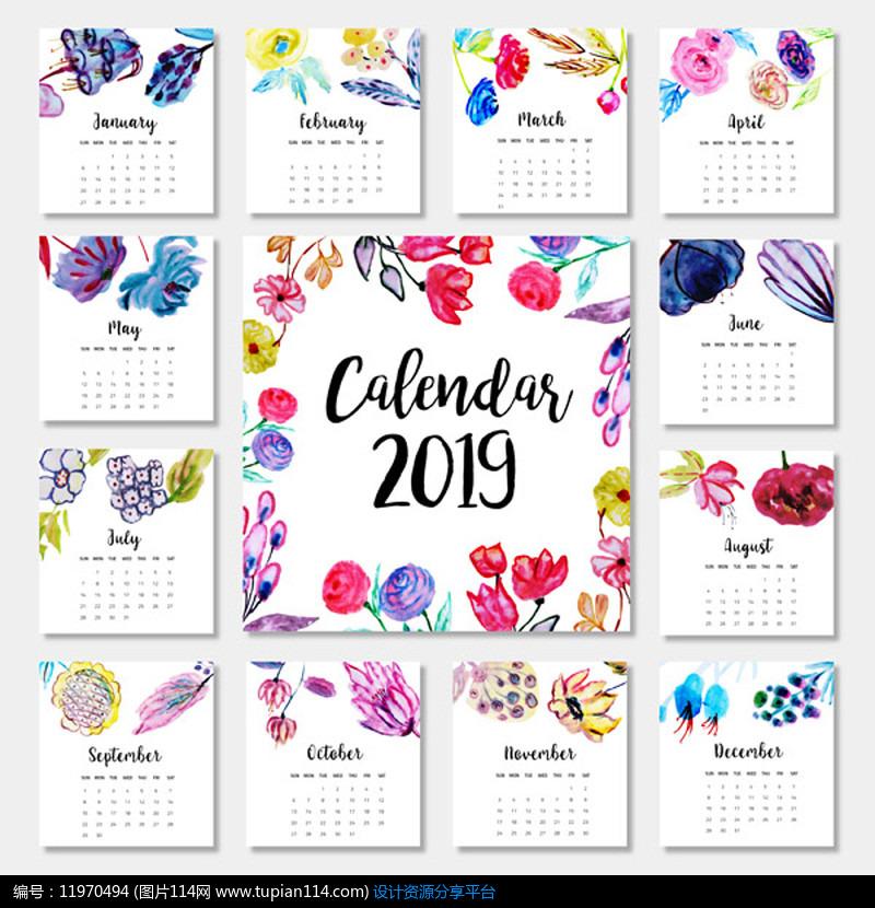 时尚创意2019年日历模版设计素材免费下载_台历挂历图片