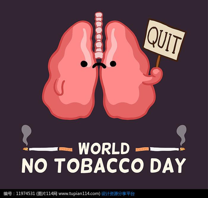 手绘肺部禁烟公益海报