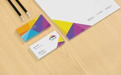 公司专用信纸与名片展示效果图模板