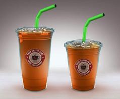 橙色饮品透明大小两杯正面展示