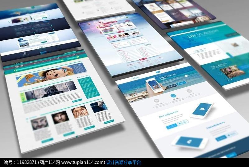 简约手机网页模板蓝色APP模板UI展示UIv手机界面三视图绘制主视图图片