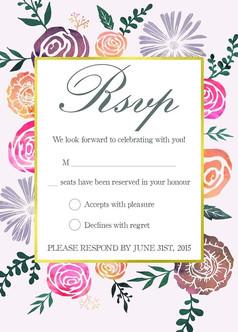 创意浪漫玫瑰婚礼喜宴请帖请柬邀请函设计模板