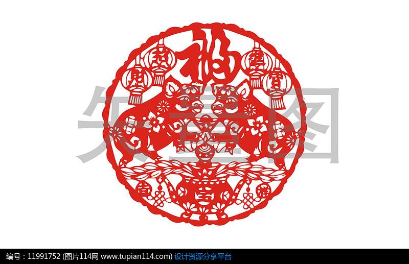 2019猪年窗花福字剪纸素材设计素材免费下载_底纹背景