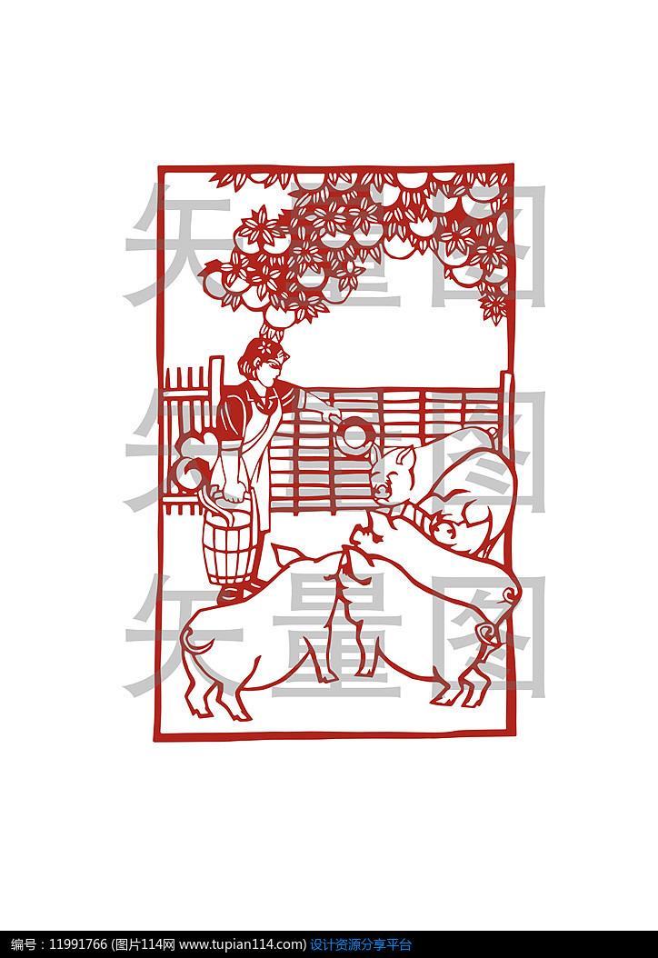 创意2019猪年窗花剪纸图案