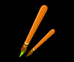 绘画毛笔绘画笔卡通元素