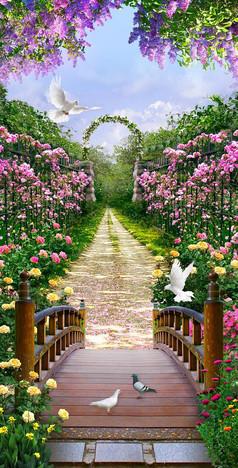 花园风景背景墙