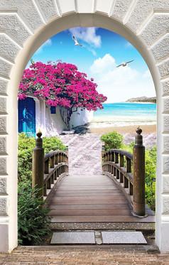 门前风景背景墙