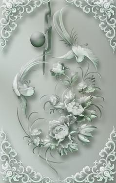 花纹雕塑背景墙