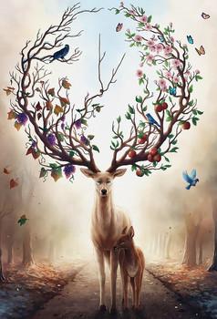 立体小鹿背景墙